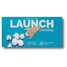 Paper Rocket Launch XLarge Postcard