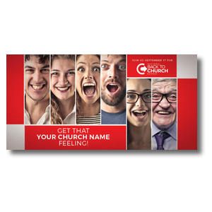 Back to Church Happy Faces XLarge Postcards