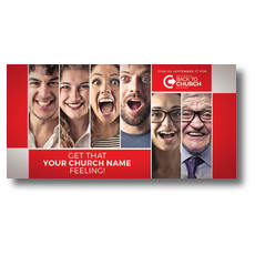 Back to Church Happy Faces XLarge Postcard