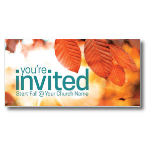 "Orange Leaves Invited 11"" x 5.5"" Oversized Postcards"