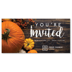 "Pumpkins Youre Invited 11"" x 5.5"" Oversized Postcards"