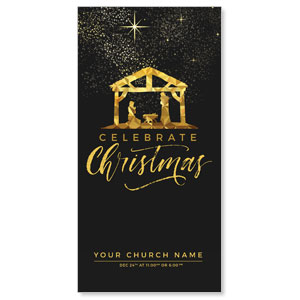 "Black and Gold Nativity 11"" x 5.5"" Oversized Postcards"