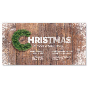 "Christmas C Wreath 11"" x 5.5"" Oversized Postcards"