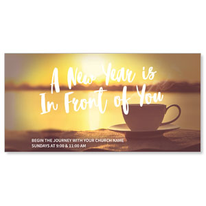 "New Year Coffee Cup 11"" x 5.5"" Oversized Postcards"