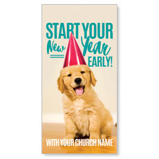 New Year Puppy XLarge Postcard