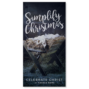 "Simplify Christmas Manger 11"" x 5.5"" Oversized Postcards"