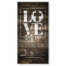 Love Starts Here Wood XLarge Postcard