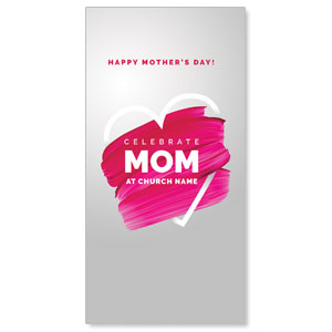 Mom Pink Paint Strokes XLarge Postcards