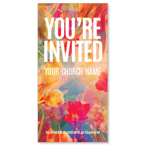 "Bright Flowers Invited 11"" x 5.5"" Oversized Postcards"