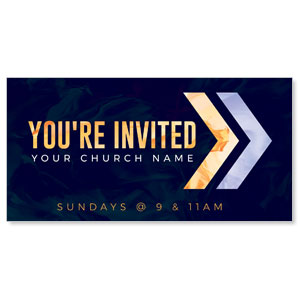 "Invited Gold Purple Chevron 11"" x 5.5"" Oversized Postcards"