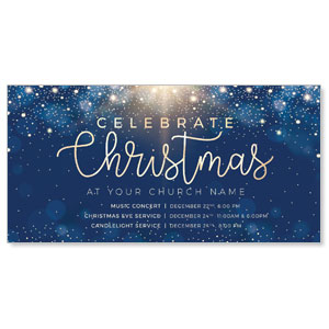 Blue Sparkles Christmas Church Postcards