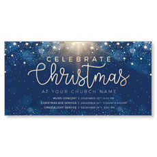 Blue Sparkles Christmas Church Postcard