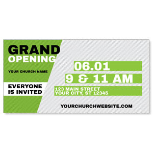"Grand Opening Invite Green 11"" x 5.5"" Oversized Postcards"