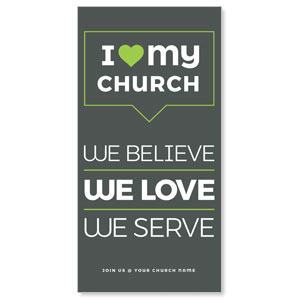 "ILMC Believe Love Serve 11"" x 5.5"" Oversized Postcards"