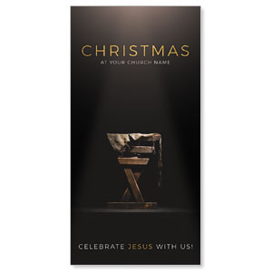 "Gold Christmas Manger 11"" x 5.5"" Oversized Postcards"