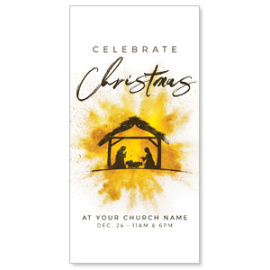 "Gold Powder Creche 11"" x 5.5"" Oversized Postcards"