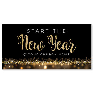 "New Year Gold Sparkle 11"" x 5.5"" Oversized Postcards"