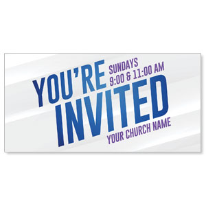 "Invited Blue Streaks 11"" x 5.5"" Oversized Postcards"
