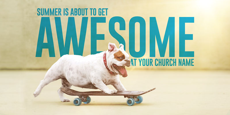 Church Postcards, Summer - General, Awesome Summer Dog, 5.5 x 11