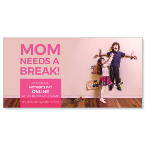 "Mom Needs A Break Online 11"" x 5.5"" Oversized Postcards"