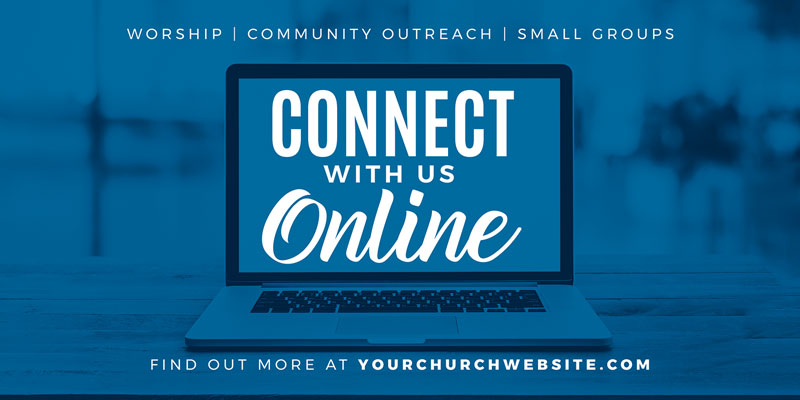 Church Postcards, You're Invited, Blue Connect Online, 5.5 x 11