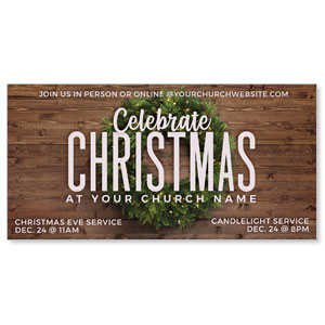 "Celebrate Christmas Wreath 11"" x 5.5"" Oversized Postcards"