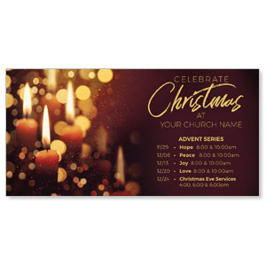 "Celebrate Christmas Candles 11"" x 5.5"" Oversized Postcards"