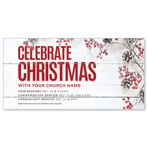"Celebrate Christmas Berries 11"" x 5.5"" Oversized Postcards"