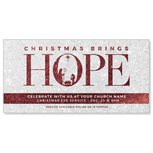 "Christmas Brings Hope Sparkle 11"" x 5.5"" Oversized Postcards"