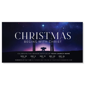 "Begins With Christ Manger 11"" x 5.5"" Oversized Postcards"