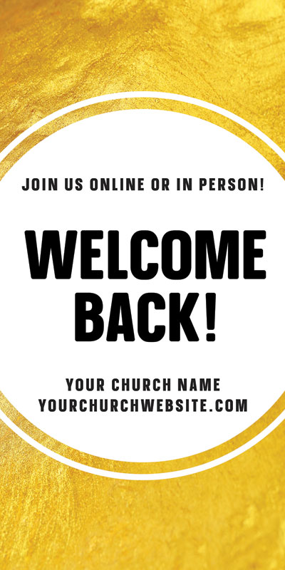 Church Postcards, Welcome Back, Gold Dot Welcome Back, 5.5 x 11