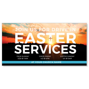 "Drive In Easter Services 11"" x 5.5"" Oversized Postcards"