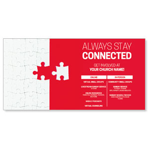 "Red Connected Puzzle 11"" x 5.5"" Oversized Postcards"