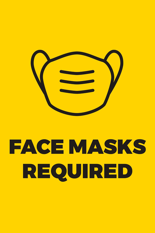 Posters, Welcome Back, Yellow Face Masks Required, 12 x 18
