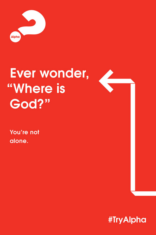 Posters, Alpha, Alpha Arrow Where is God Red, 12 x 18