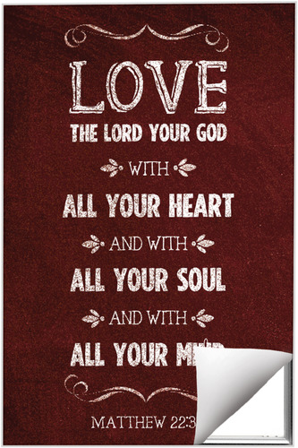 Wall Art, Scripture, Chalkboard Art Red, 24 x 36