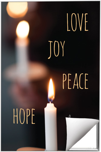 Wall Art, Christmas, Candle Advent Words, 24 x 36