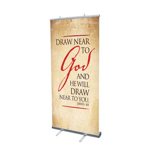 "Red Script James 4:8 4' x 6'7"" Vinyl Banner"