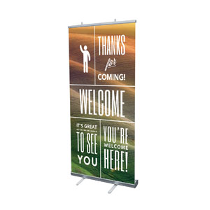 "Phrases Welcome 4' x 6'7"" Vinyl Banner"