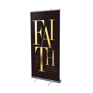 "Gold Letters Faith 4' x 6'7"" Vinyl Banner"