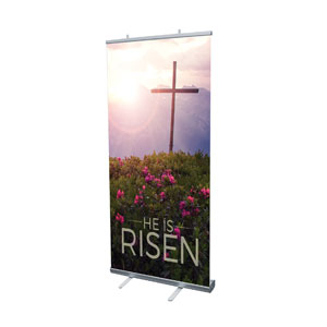 "He Is Risen Mountain 4' x 6'7"" Vinyl Banner"