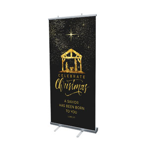 "Black and Gold Nativity 4' x 6'7"" Vinyl Banner"