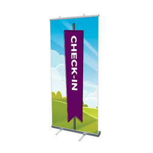 "Bright Meadow Check In 4' x 6'7"" Vinyl Banner"