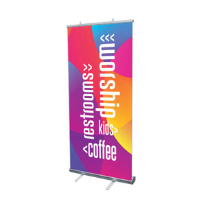 "Curved Colors Directional 4' x 6'7"" Vinyl Banner"