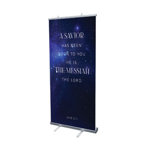 "Begins With Christ Manger Scripture 4' x 6'7"" Vinyl Banner"