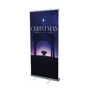 "Begins With Christ Manger 4' x 6'7"" Vinyl Banner"