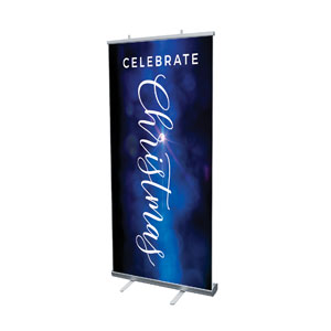 "Celebrate Christmas Blue Sparkle 4' x 6'7"" Vinyl Banner"