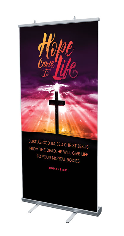 Banners, Easter, Hope Life Cross Scripture, 4' x 6'7