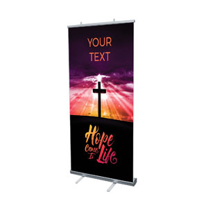 "Hope Life Cross Your Text 4' x 6'7"" Vinyl Banner"