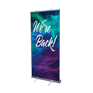 "We're Back Powder 4' x 6'7"" Vinyl Banner"